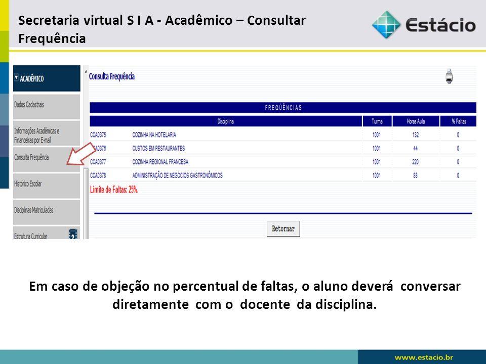 Secretaria virtual – Acadêmico – Histórico Escolar Em caso de objeções nas informações, o aluno deverá abrir Requerimento > Acerto de Grau e Freqüência.