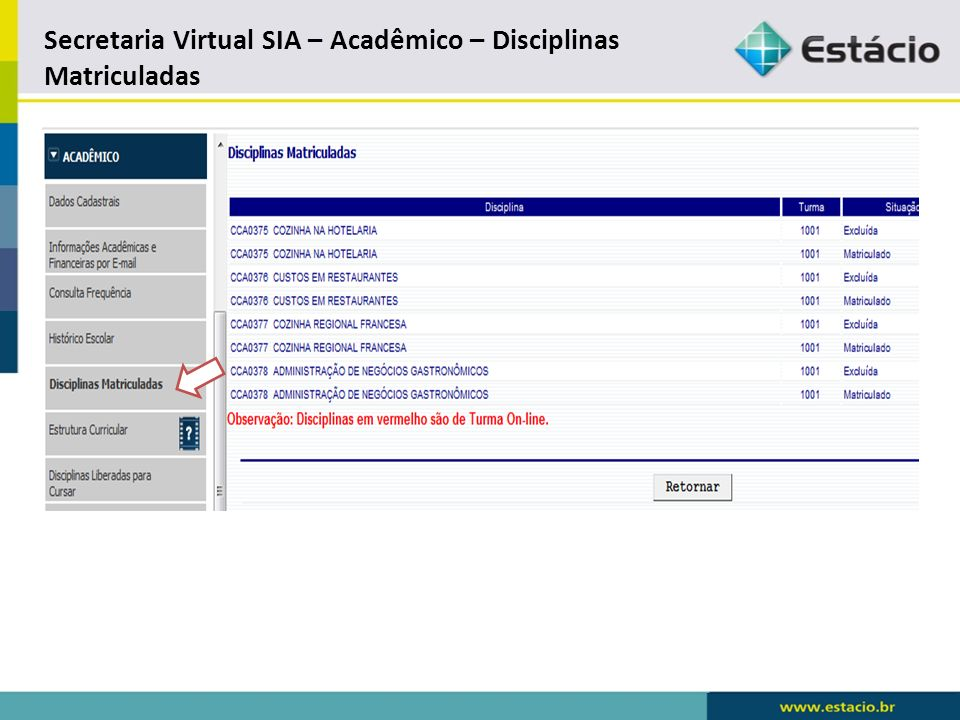 Secretaria Virtual SIA – Acadêmico – Estrutura Curricular * Modelo /abrir arquivo PDF.