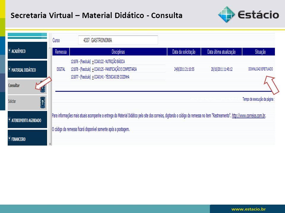 Secretaria Virtual S I A – Material Didático - Solicitar