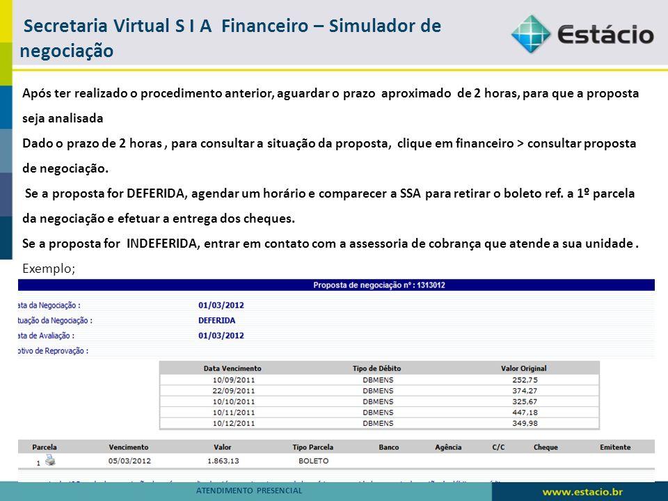 Secretaria Virtual S I A – Financeiro – Informações Financeiras