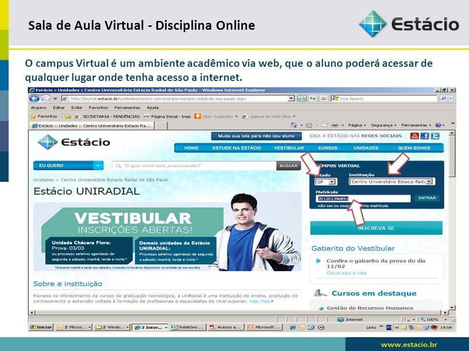 Sala de Aula Virtual - Disciplina Online Digite sua senha, caso seja o seu primeiro acesso, acompanhe as instruções para criar a sua senha