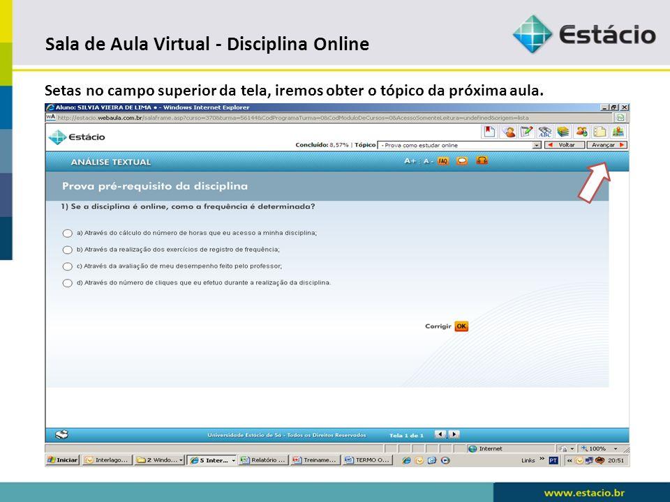 Sala de Aula Virtual - Disciplina Online Explicações sobre o ponto de partida.