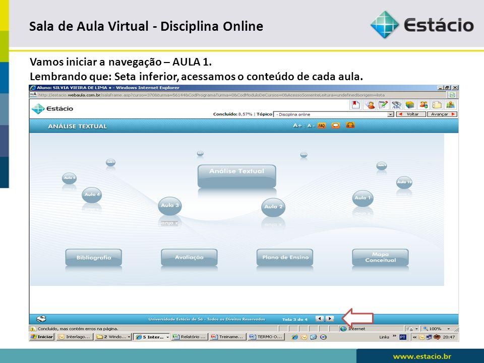 Sala de Aula Virtual - Disciplina Online AULA 1. Conteúdo Primeira Aula.