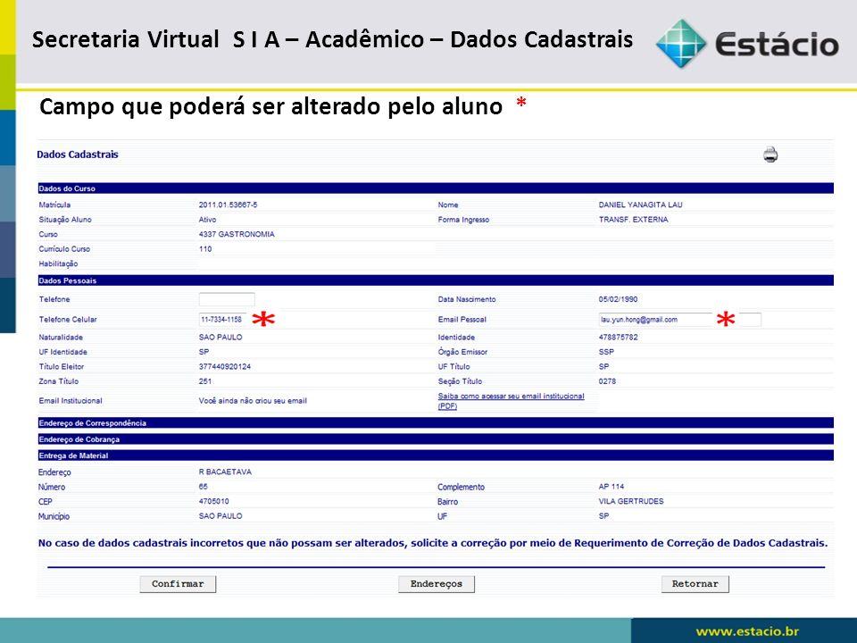 Secretaria virtual S I A – Acadêmico – Recebimento de Informações por e-mail
