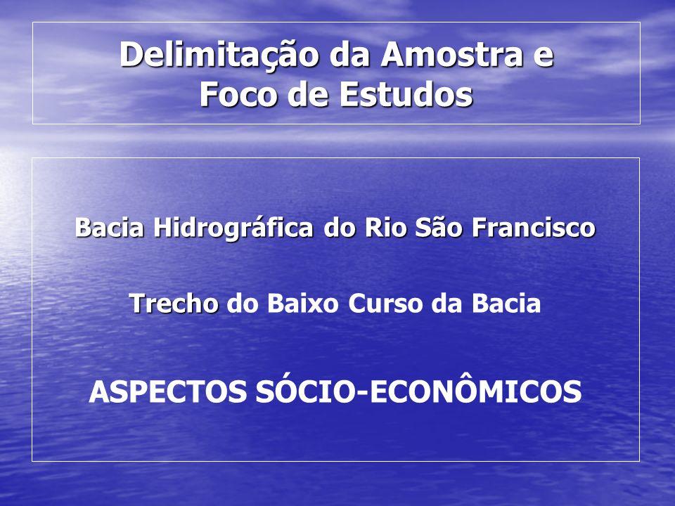 Delimitação da Amostra e Foco de Estudos Bacia Hidrográfica do Rio São Francisco Trecho Trecho do Baixo Curso da Bacia ASPECTOS SÓCIO-ECONÔMICOS