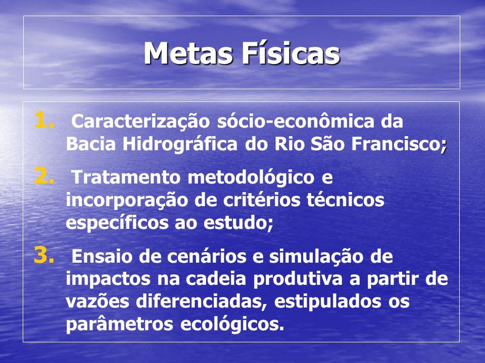 Metas Físicas ; 1. Caracterização sócio-econômica da Bacia Hidrográfica do Rio São Francisco; 2. Tratamento metodológico e incorporação de critérios t