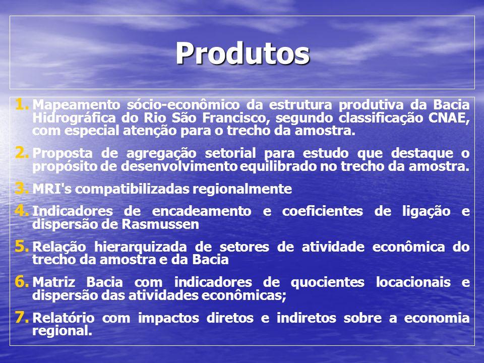 Produtos 1. 1. Mapeamento sócio-econômico da estrutura produtiva da Bacia Hidrográfica do Rio São Francisco, segundo classificação CNAE, com especial