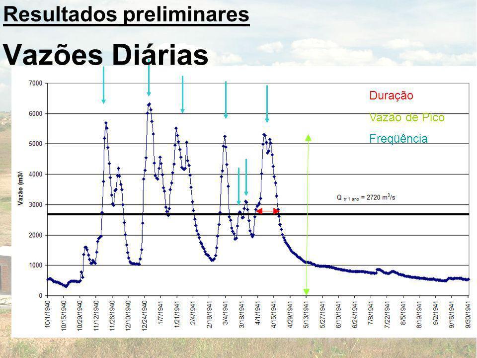 Duração Vazão de Pico Freqüência Resultados preliminares Vazões Diárias