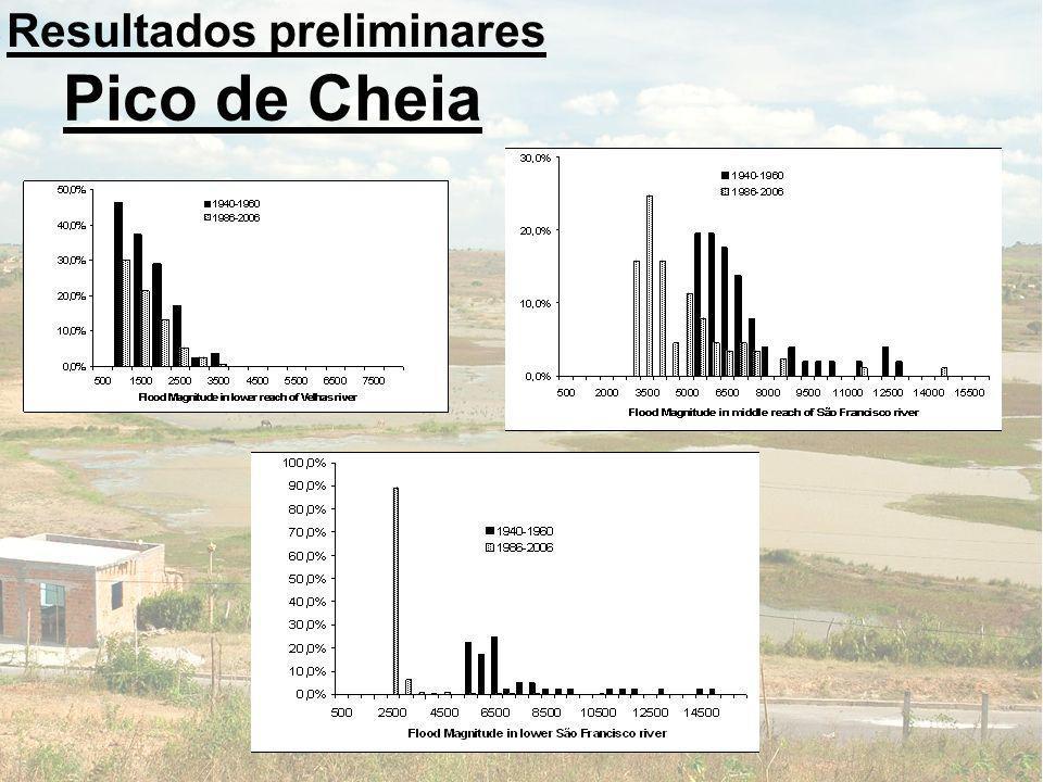 Pico de Cheia Resultados preliminares