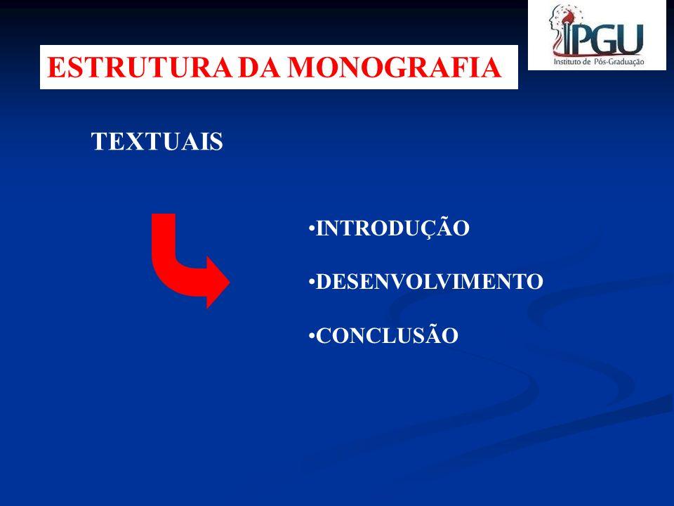 INTRODUÇÃO Parte inicial do texto, onde deve mostrar a delimitação do assunto tratado PROBLEMA JUSTIFICATIVA OBJETIVOS METODOLOGIA PROBLEMA JUSTIFICATIVA OBJETIVOS HIPÓTESES PESQUISA INDIRETA Revisão de Literatura PESQUISA DIRETA PODE-SE REDIGIR: FORMA DE TEXTO FORMA DE TÓPICOS