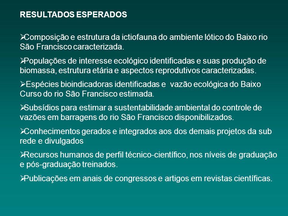 RESULTADOS ESPERADOS Composição e estrutura da ictiofauna do ambiente lótico do Baixo rio São Francisco caracterizada.