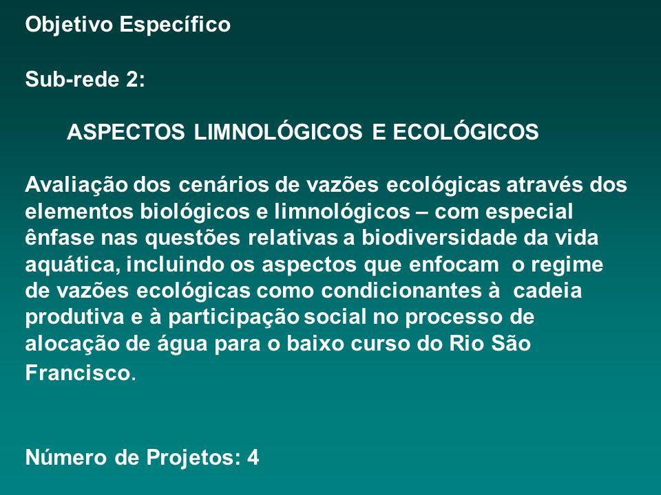 Objetivo Específico Sub-rede 2: ASPECTOS LIMNOLÓGICOS E ECOLÓGICOS Avaliação dos cenários de vazões ecológicas através dos elementos biológicos e limnológicos – com especial ênfase nas questões relativas a biodiversidade da vida aquática, incluindo os aspectos que enfocam o regime de vazões ecológicas como condicionantes à cadeia produtiva e à participação social no processo de alocação de água para o baixo curso do Rio São Francisco.