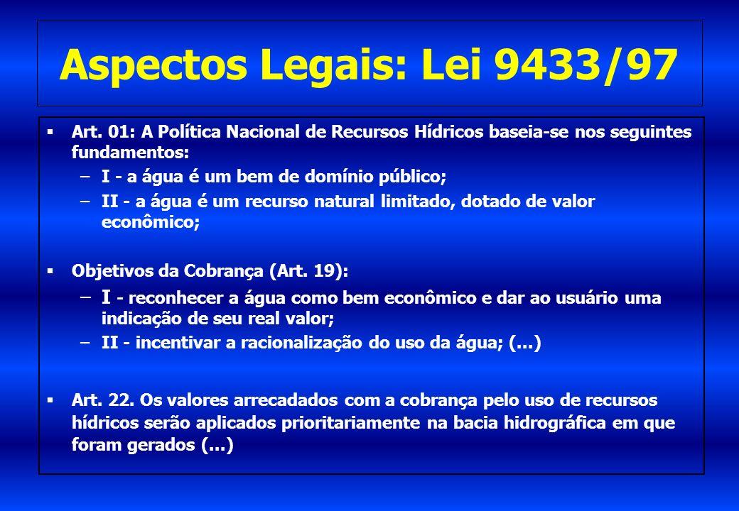 Aspectos Legais: Lei 9433/97 Art. 01: A Política Nacional de Recursos Hídricos baseia-se nos seguintes fundamentos: –I - a água é um bem de domínio pú