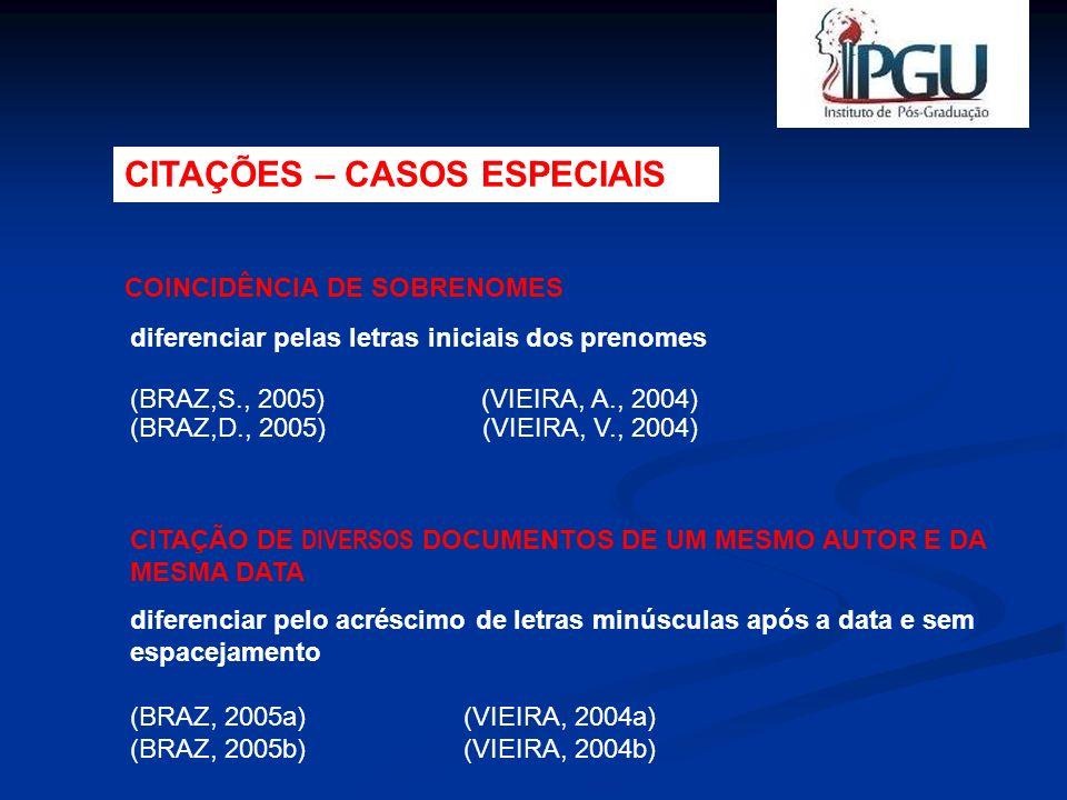 diferenciar pelas letras iniciais dos prenomes (BRAZ,S., 2005) (VIEIRA, A., 2004) (BRAZ,D., 2005) (VIEIRA, V., 2004) COINCIDÊNCIA DE SOBRENOMES CITAÇÃ