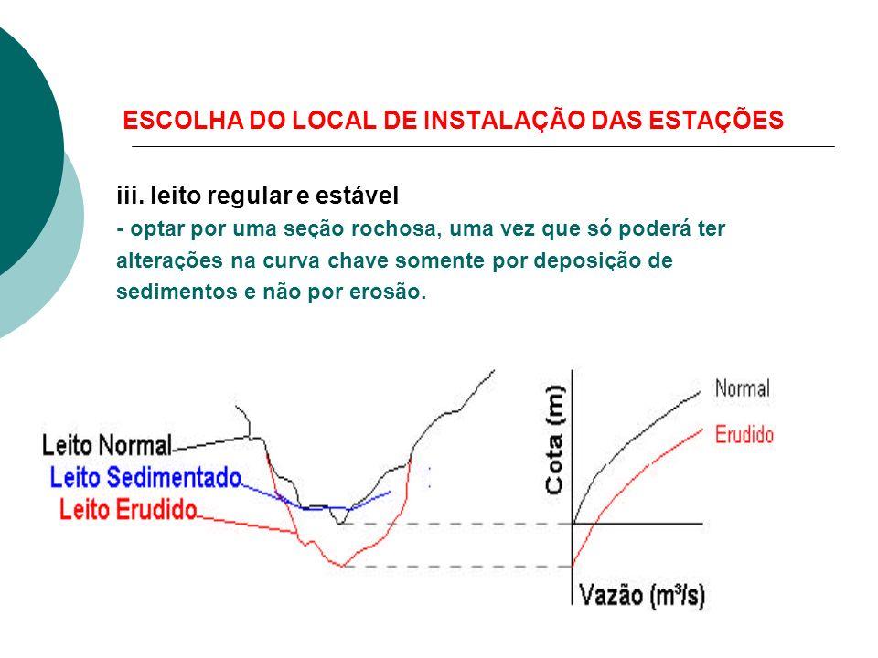 ESCOLHA DO LOCAL DE INSTALAÇÃO DAS ESTAÇÕES iii. leito regular e estável - optar por uma seção rochosa, uma vez que só poderá ter alterações na curva