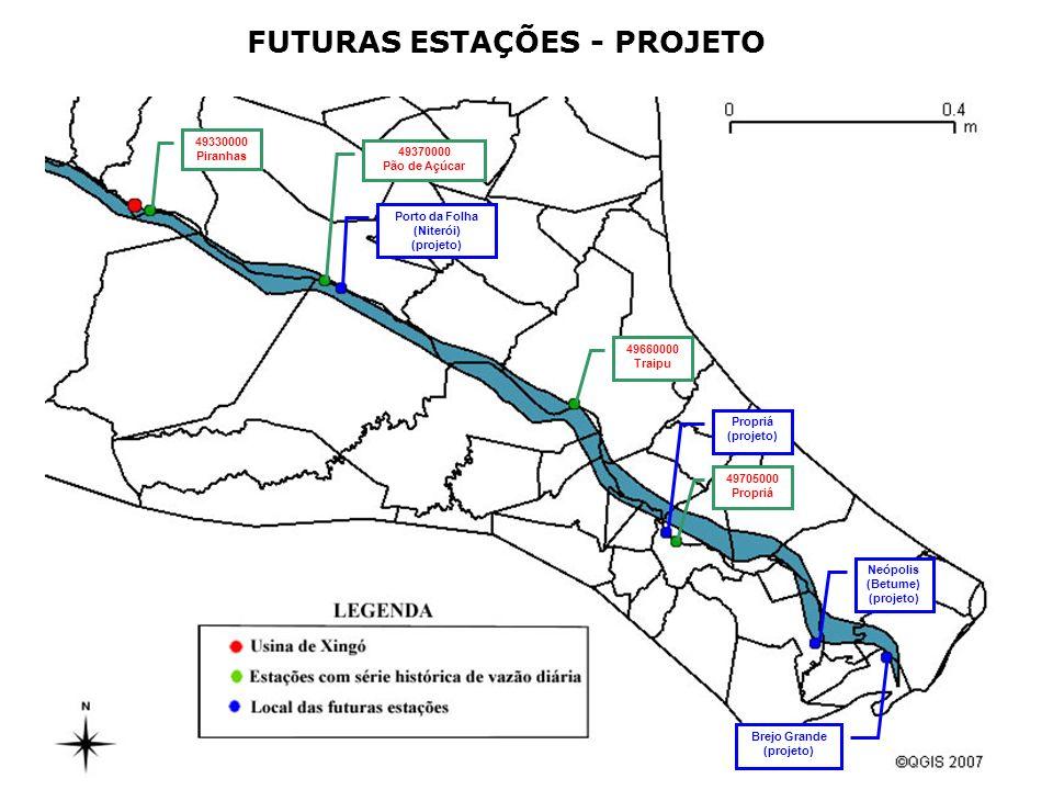 FUTURAS ESTAÇÕES - PROJETO 49330000 Piranhas 49370000 Pão de Açúcar Porto da Folha (Niterói) (projeto) 49660000 Traipu Propriá (projeto) 49705000 Prop