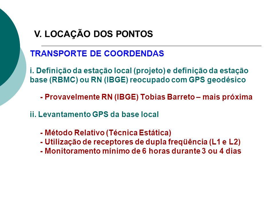 TRANSPORTE DE COORDENDAS i. Definição da estação local (projeto) e definição da estação base (RBMC) ou RN (IBGE) reocupado com GPS geodésico - Provave