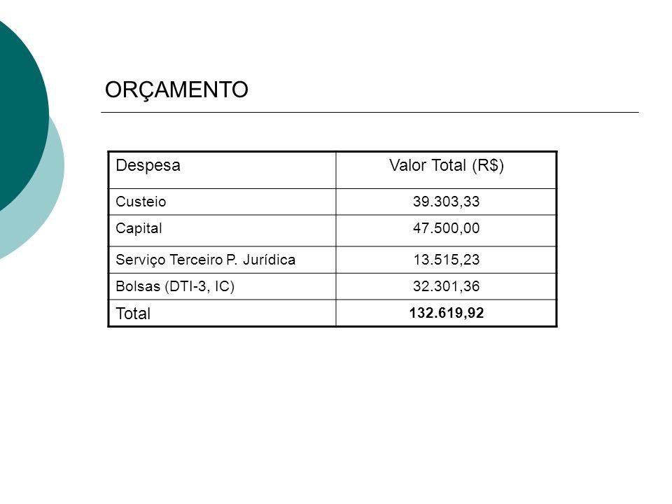 ORÇAMENTO DespesaValor Total (R$) Custeio39.303,33 Capital47.500,00 Serviço Terceiro P. Jurídica13.515,23 Bolsas (DTI-3, IC)32.301,36 Total 132.619,92