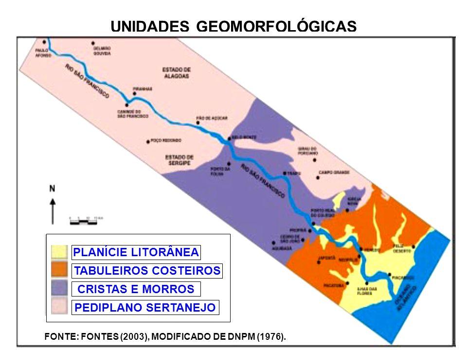 UNIDADES GEOMORFOLÓGICAS PLANÍCIE LITORÂNEA TABULEIROS COSTEIROS CRISTAS E MORROS PEDIPLANO SERTANEJO FONTE: FONTES (2003), MODIFICADO DE DNPM (1976).
