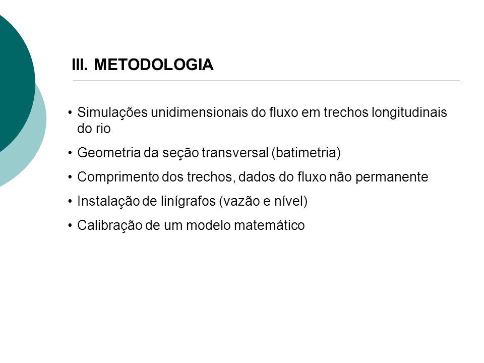 III. METODOLOGIA Simulações unidimensionais do fluxo em trechos longitudinais do rio Geometria da seção transversal (batimetria) Comprimento dos trech