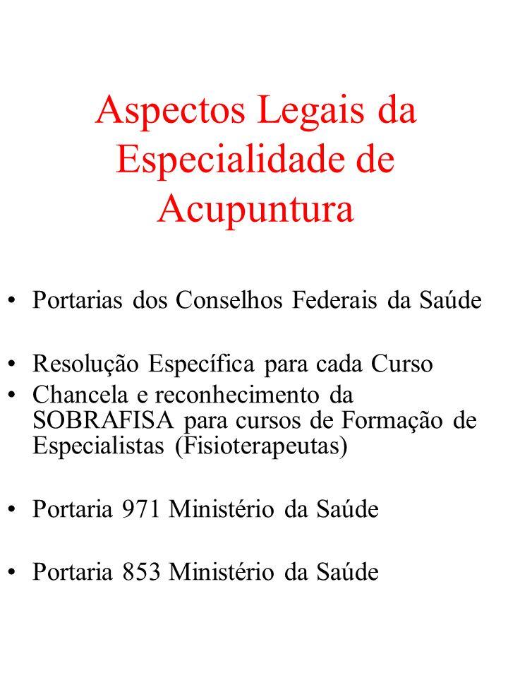 Aspectos Legais da Especialidade de Acupuntura Portarias dos Conselhos Federais da Saúde Resolução Específica para cada Curso Chancela e reconheciment