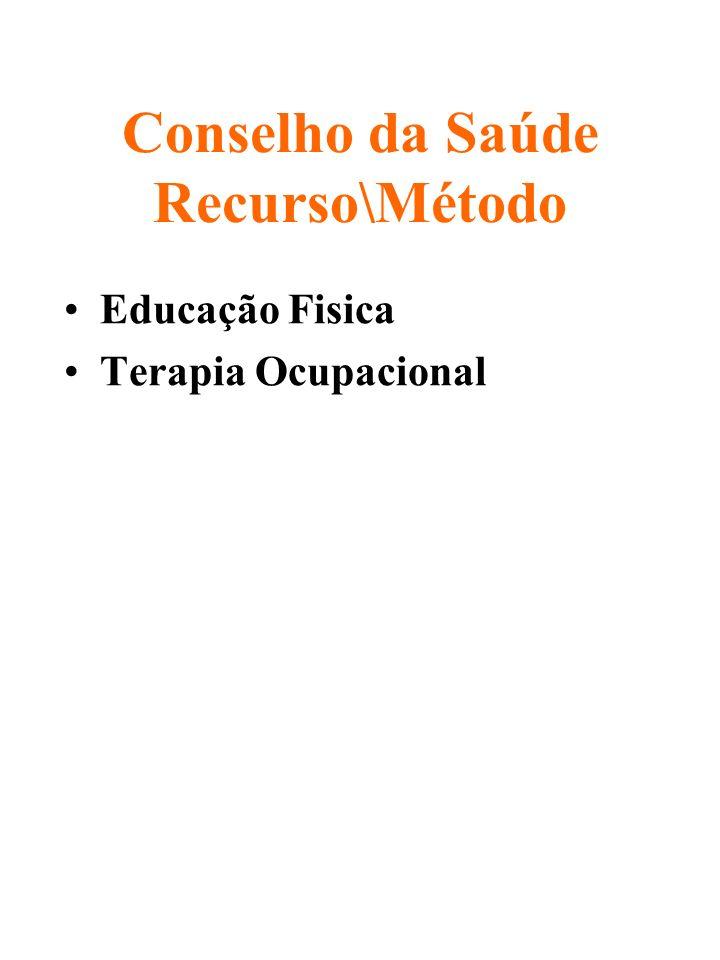 Conselho da Saúde Recurso\Método Educação Fisica Terapia Ocupacional