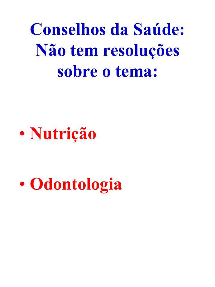Conselhos da Saúde: Não tem resoluções sobre o tema: Nutrição Odontologia