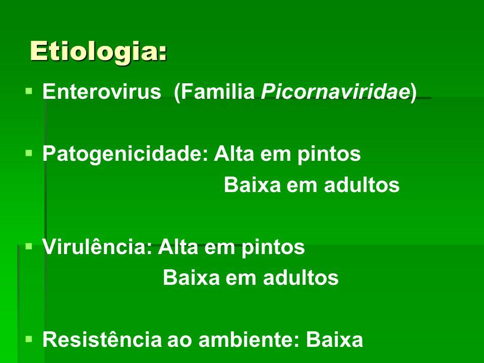 Etiologia: Enterovirus (Familia Picornaviridae) Patogenicidade: Alta em pintos Baixa em adultos Virulência: Alta em pintos Baixa em adultos Resistênci