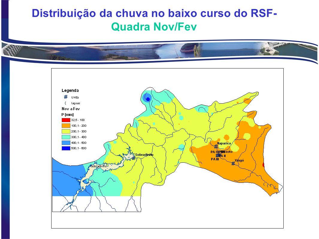 BALANÇO HIDRICO NO RESERVATÓRIO DA UHE SOBRADINHO – 1978 a 2000 Equação: Retiradas = VA + P- VE - S Vazão média Retiradas: 334 m³/s VE -VS: 298 m³/s Precip = 44 m³/s