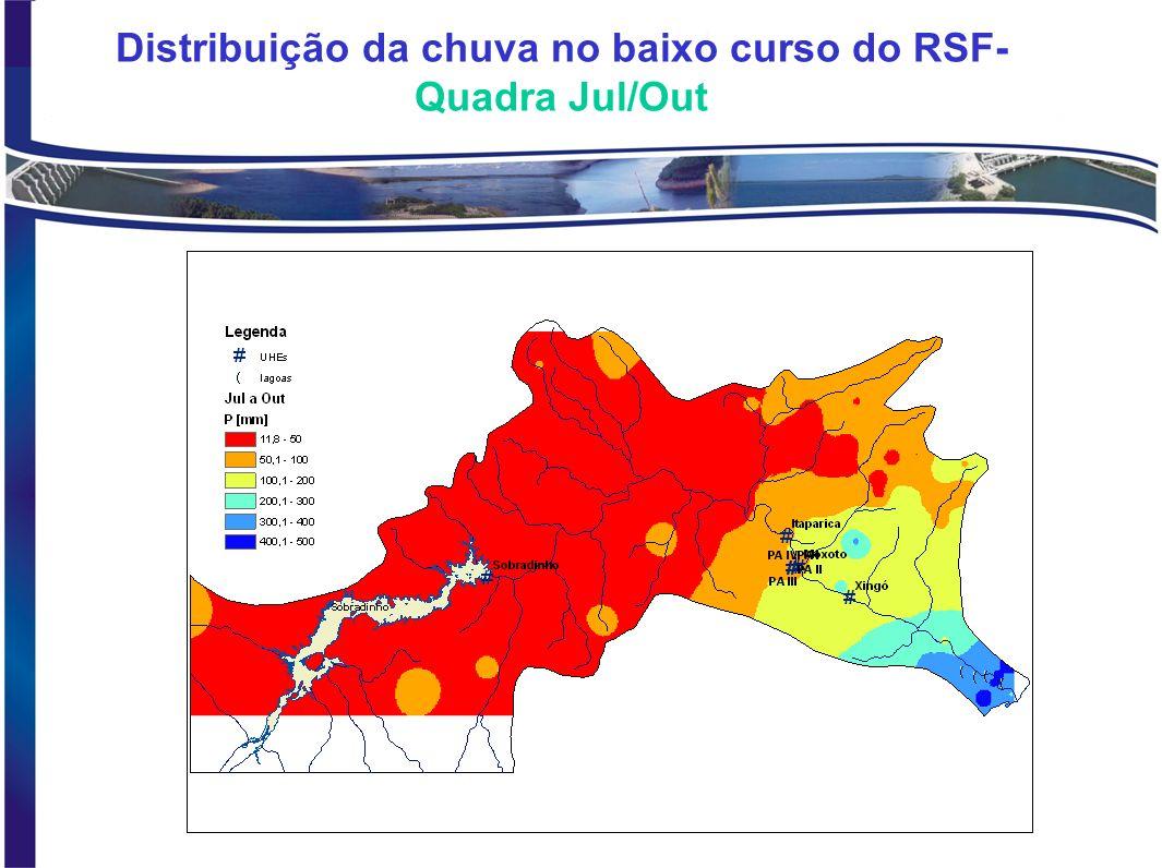 Distribuição da chuva no baixo curso do RSF- Quadra Mar/Jun