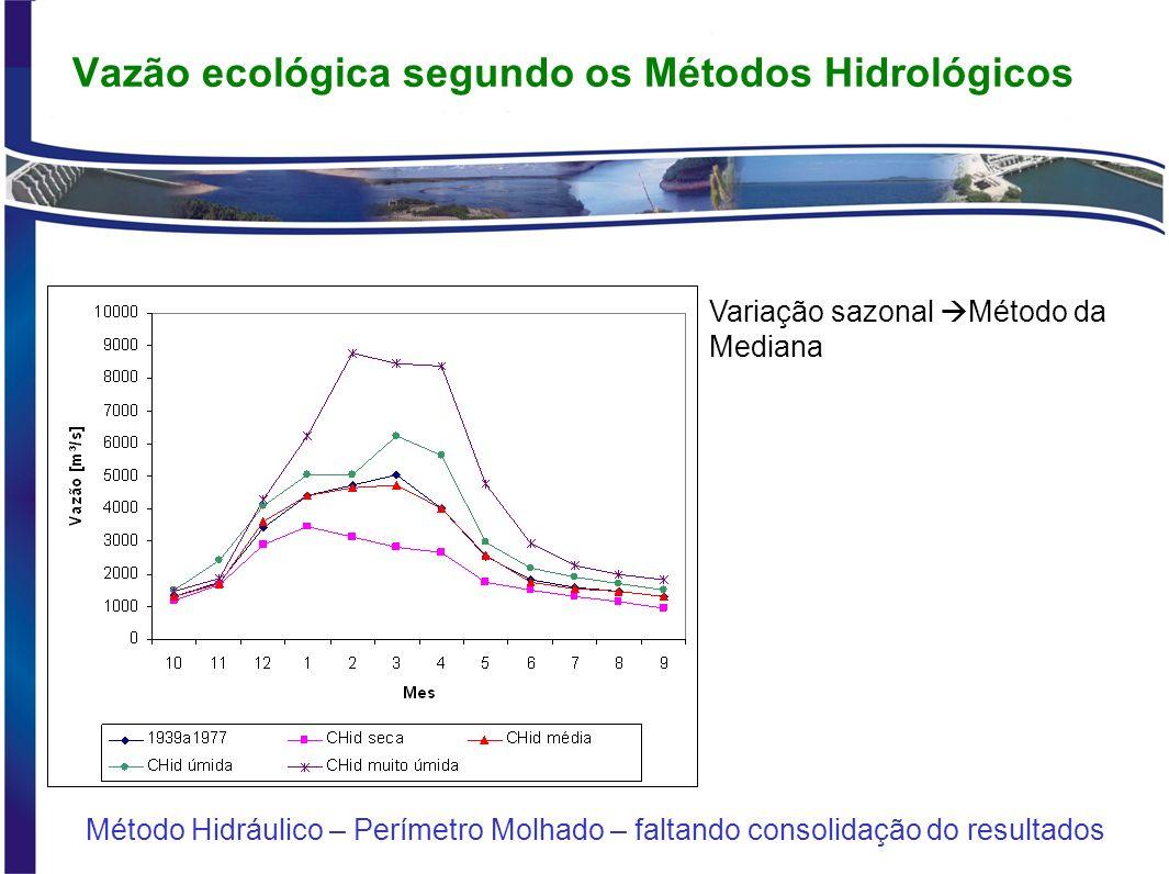 Vazão ecológica segundo os Métodos Hidrológicos 1939a1977CHid seca CHid média CHid úmida CHid muito úmida QminHist (diária)637 900745790 30%Q95 (diária) – remanescente da Outorga ANA299255333375419 Aquática de base (mensal)1326971132314981844 Tennant – Estiagem – Pobre ou mínima - 10%Qlp291208278335449 Tennant – Estiagem – Muito bom - 30%Qlp87462383310051347 Qremanescente (CBHSF)1300 Resumo comparativo das vazões [m³/s] para o mês crítico do período de estiagem Qmax mensal (CHid max) Qsetembro entre 978 e 1868 m³/s