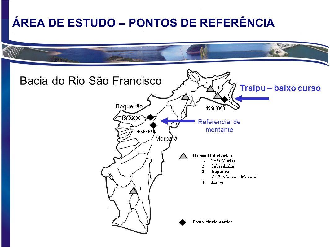 ÁREA DE ESTUDO – PONTOS DE REFERÊNCIA Traipu – baixo curso Bacia do Rio São Francisco Referencial de montante Boqueirão Morpará