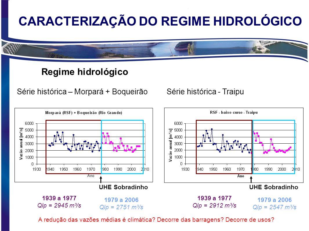 CARACTERIZAÇÃO DO REGIME HIDROLÓGICO Regime hidrológico Série histórica - Traipu 1939 a 1977 Qlp = 2912 m³/s UHE Sobradinho Série histórica – Morpará + Boqueirão 1939 a 1977 Qlp = 2945 m³/s UHE Sobradinho 1979 a 2006 Qlp = 2751 m³/s 1979 a 2006 Qlp = 2547 m³/s A redução das vazões médias é climática.