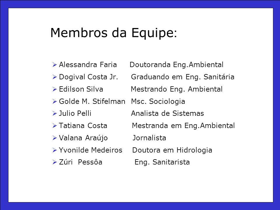 Membros da Equipe : Alessandra Faria Doutoranda Eng.Ambiental Dogival Costa Jr.