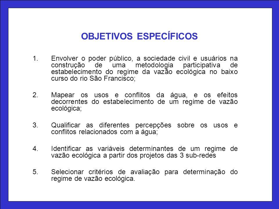 OBJETIVOS ESPECÍFICOS 1.Envolver o poder público, a sociedade civil e usuários na construção de uma metodologia participativa de estabelecimento do re