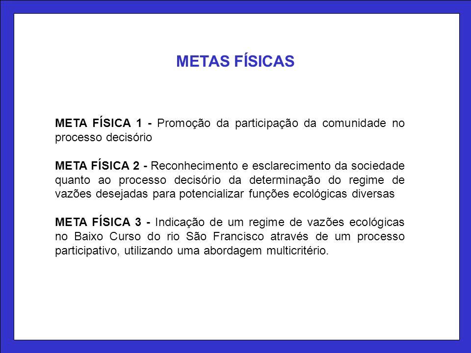 META FÍSICA 1 - Promoção da participação da comunidade no processo decisório META FÍSICA 2 - Reconhecimento e esclarecimento da sociedade quanto ao pr