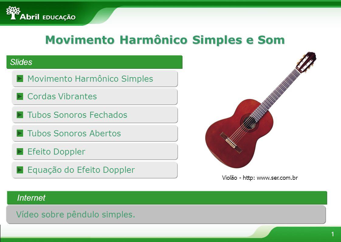 Efeito Doppler Movimento Harmônico Simples 1 Movimento Harmônico Simples e Som Slides Tubos Sonoros Fechados Internet Violão - http: www.ser.com.br Co