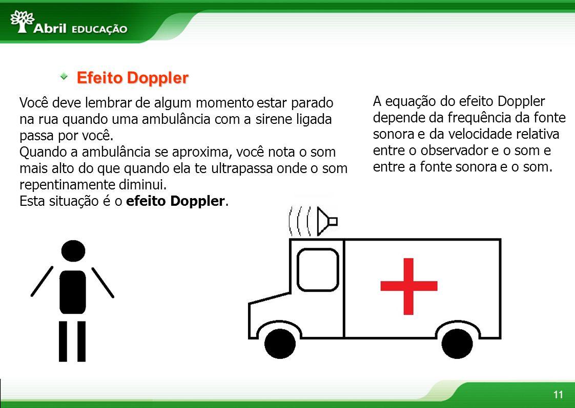 Efeito Doppler 11 Você deve lembrar de algum momento estar parado na rua quando uma ambulância com a sirene ligada passa por você. Quando a ambulância