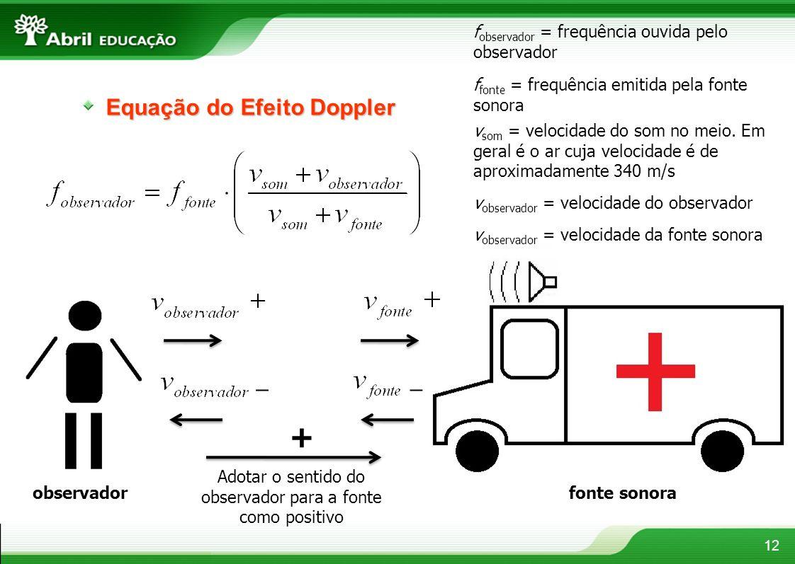 Equação do Efeito Doppler 12 observador fonte sonora Adotar o sentido do observador para a fonte como positivo + f observador = frequência ouvida pelo