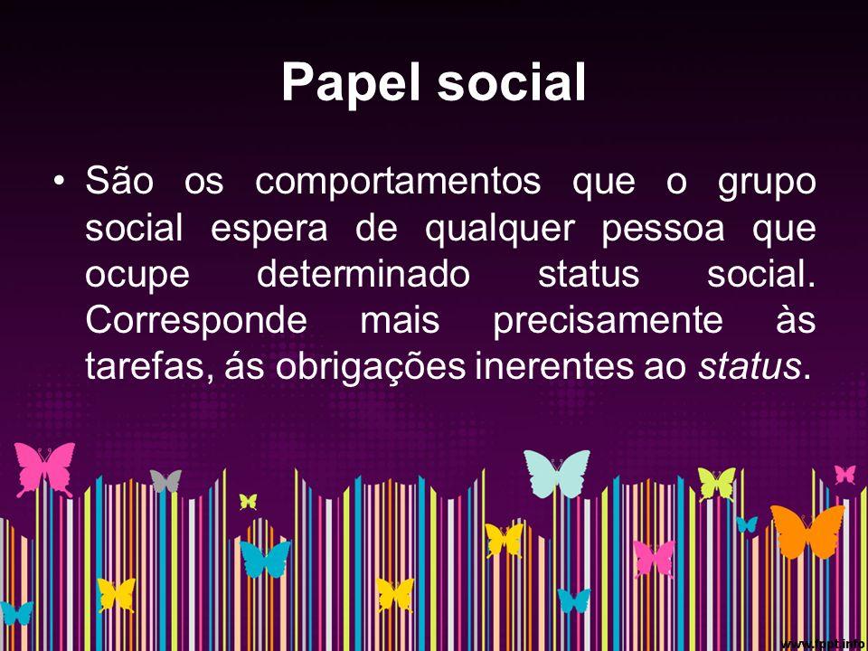Papel social São os comportamentos que o grupo social espera de qualquer pessoa que ocupe determinado status social.