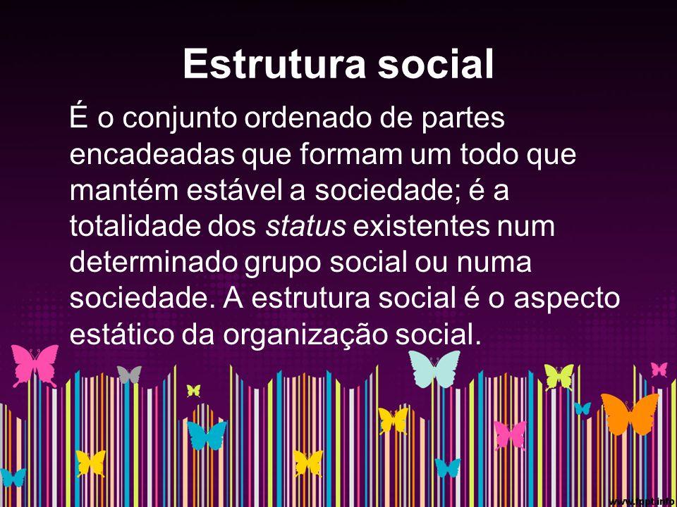 Estrutura social É o conjunto ordenado de partes encadeadas que formam um todo que mantém estável a sociedade; é a totalidade dos status existentes num determinado grupo social ou numa sociedade.