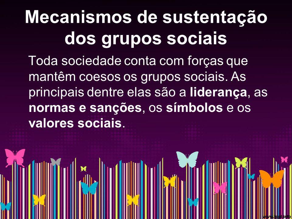 Mecanismos de sustentação dos grupos sociais Toda sociedade conta com forças que mantêm coesos os grupos sociais.