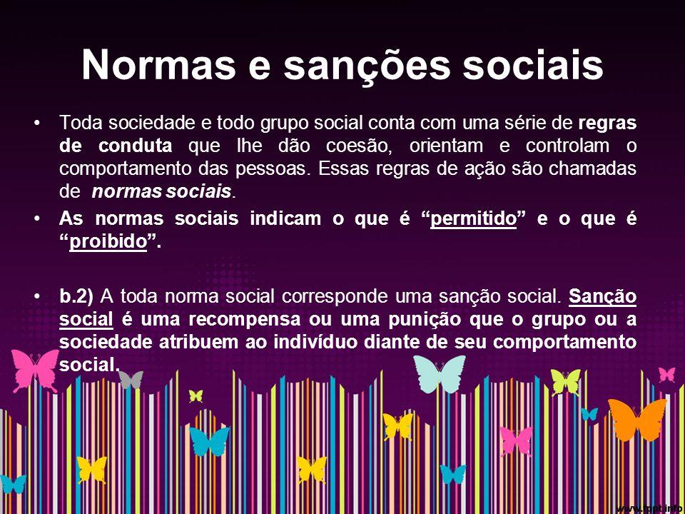 Normas e sanções sociais Toda sociedade e todo grupo social conta com uma série de regras de conduta que lhe dão coesão, orientam e controlam o comportamento das pessoas.