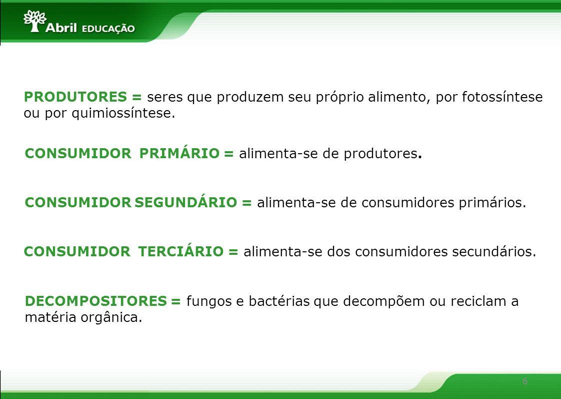 6 PRODUTORES = seres que produzem seu próprio alimento, por fotossíntese ou por quimiossíntese. CONSUMIDOR PRIMÁRIO = alimenta-se de produtores. CONSU