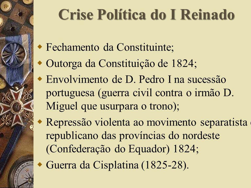 Crise Política do I Reinado Fechamento da Constituinte; Outorga da Constituição de 1824; Envolvimento de D.
