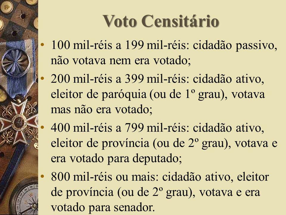 Voto Censitário 100 mil-réis a 199 mil-réis: cidadão passivo, não votava nem era votado; 200 mil-réis a 399 mil-réis: cidadão ativo, eleitor de paróquia (ou de 1º grau), votava mas não era votado; 400 mil-réis a 799 mil-réis: cidadão ativo, eleitor de província (ou de 2º grau), votava e era votado para deputado; 800 mil-réis ou mais: cidadão ativo, eleitor de província (ou de 2º grau), votava e era votado para senador.
