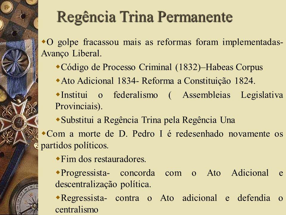 O golpe fracassou mais as reformas foram implementadas- Avanço Liberal. Código de Processo Criminal (1832)–Habeas Corpus Ato Adicional 1834- Reforma a