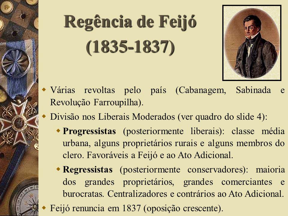 Regência de Feijó (1835-1837) Várias revoltas pelo país (Cabanagem, Sabinada e Revolução Farroupilha). Divisão nos Liberais Moderados (ver quadro do s