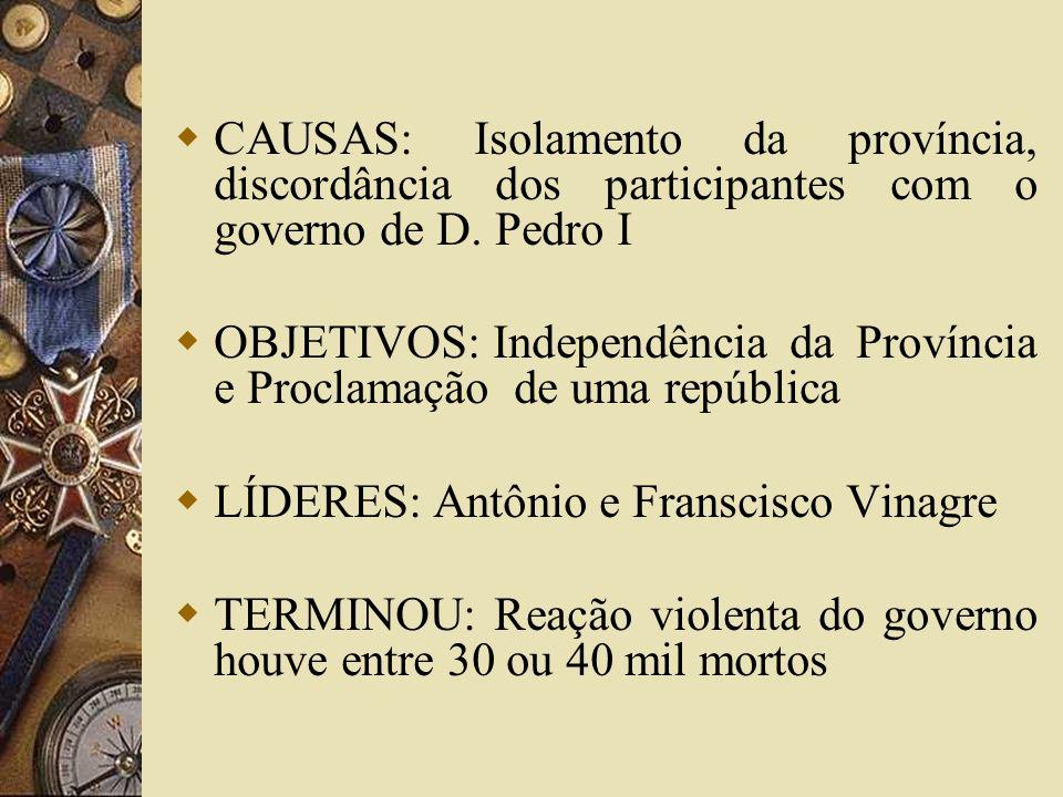 CAUSAS: Isolamento da província, discordância dos participantes com o governo de D. Pedro I OBJETIVOS: Independência da Província e Proclamação de uma