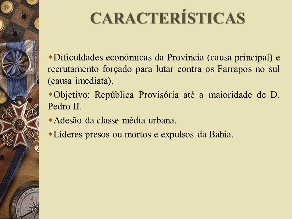 Dificuldades econômicas da Província (causa principal) e recrutamento forçado para lutar contra os Farrapos no sul (causa imediata). Objetivo: Repúbli